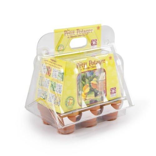 Radis et Capucine Serre Plastique 6 Pots avec 6 Sachets de Graine Terre Cuite Multicolore 5 x 5 x 5 cm