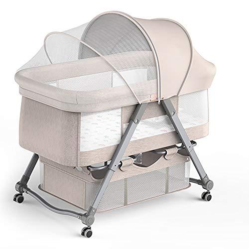 Smart panda 4 en 1 Mini Cuna para Bebés, Cuna, Hamaca, Incluye diseño Acolchado de diseño, mosquitera de sombrilla, Canasta de Almacenamiento, Adecuado para bebés de 0 a 24 Meses, Khaki