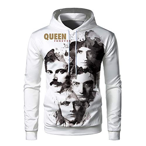 Queen Band Freddie Classic Teen Adults Unisex 3D Print Big Pocket Long Sleeve Cap Polyester Hoodie Sweater W0044HM-M