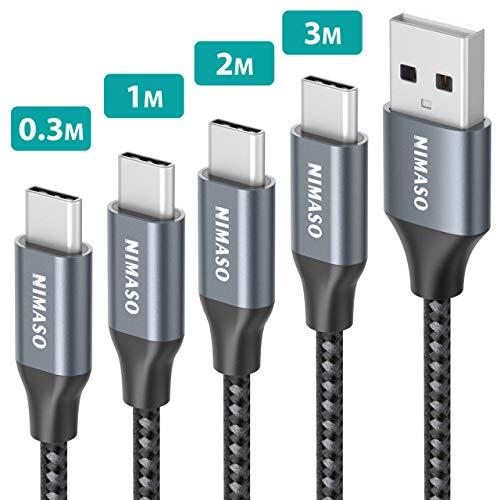 Nimaso Cable USB C 3A[4 Pack 0.3M+1M+2M+3M],Cable USB Tipo C para Carga y Sincronización Rápidas,Cargador Tipo C es Compatible con Samsung S10/S9/S8/A50/A70,Huawei P30/P20/Mate 20,Xiaomi Redmi Note 7