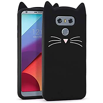 YONOCOSTA Cute Case Compatible with LG G6/ LG G6 Plus Cases Funny Cute 3D Cartoon Black Whisker Cat Ears Kitty Animal Case Soft Silicone Slim Fit Case Cover for Girls Kids Women Children