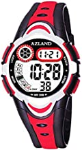 AZLAND Multiple Alarms Waterproof Kids Watches Boys Girls Digital Sports Teenagers Wristwatch (3 Alarms, for Age 4-12, Red-1)