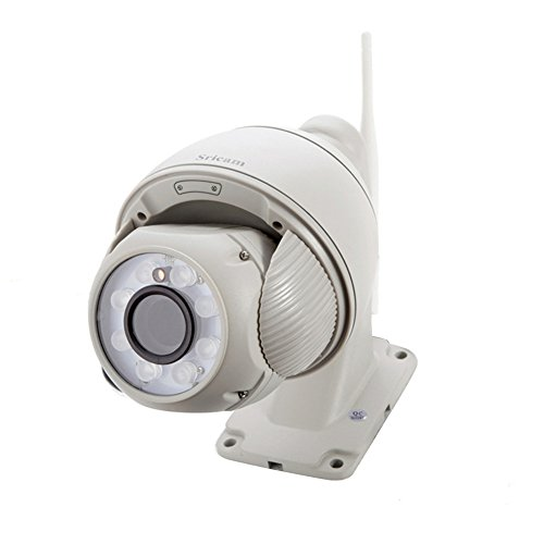 Sricam HD 720p, wifi, camcorder camera binnen, WLAN P2P IR, nachtzicht, bewegingsdetectie PTZ mini CCTV-camera met microfoon en luidspreker voor huis, kinderen, huisdieren, wit
