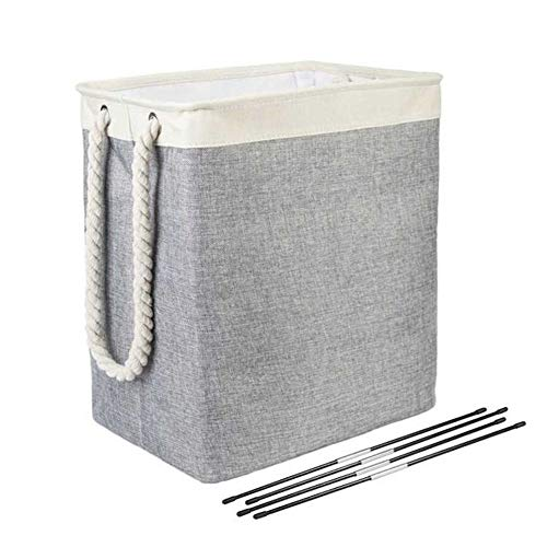 AINH Cotton Linen Collapsible Laundry Basket,Large Square Storage Basket W Cotton Rope Handles,Stable Laundry Hamper For Dorm Closet Gray 42x31x50cm(17x12x20inch)
