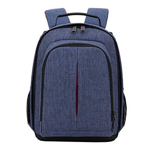 NGHSDO Kameratasche Fotokamera wasserdichte Rucksack-Video Schultern weich gepolsterte Stativtasche mit Regen-Abdeckung Männer Frauen Fall-Pack 3 (Color : Blue)