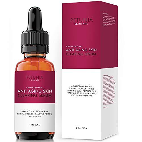 Anti-Aging Skin Clearing Vitamin C Plus Serum | Active 2.5% Retinol, Vit C 20% , MSM, Salicylic Acid | Acne Treatment And Collagen Booster For Fine Lines, Wrinkles, Dark Spots, Acne | 1 fl. oz.