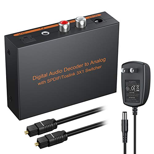 eSynic Digital to Analog Audio Decoder 3 Port Optical SPDIF Toslink to L/R RCA 3.5mm Stereo Audio Toslink Optical Switcher Splitter with 6.5ft OD 4.0 Cable Power Adapter Support DTS Dolby-AC3 2.0 LPCM