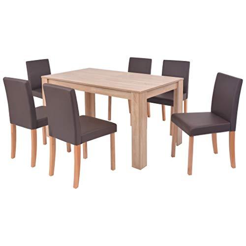 vidaXL Esszimmertisch Stühle 7-TLG. Essgruppe Esszimmergruppe Esszimmergarnitur Tischset Sitzgruppe Esstisch Kunstleder Eichen-Finish Braun