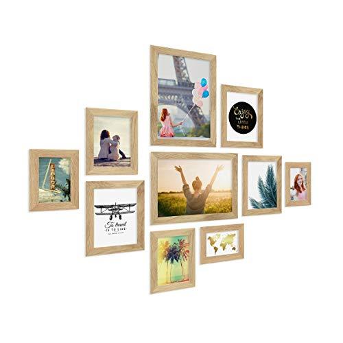 PHOTOLINI 10er Bilderrahmen-Collage Basic Collection, Modern, Eiche, Massivholz, inklusive Zubehör/Foto-Collage/Bildergalerie/Bilderrahmen-Set