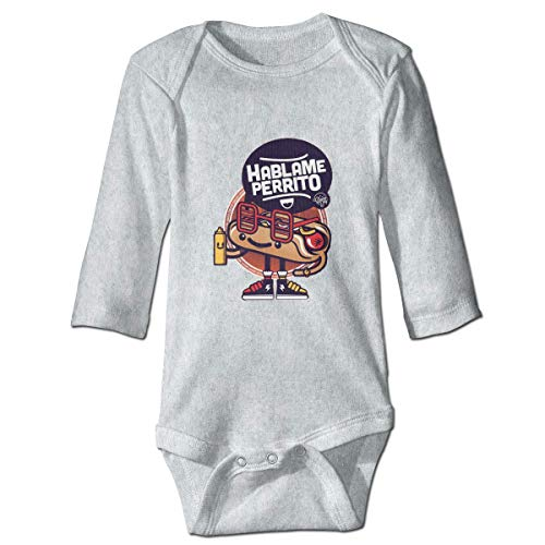 maichengxuan Mameluco Bebé Paller HABLAME PERRIPT Recién Nacido Bebé Niño Bebé Niñas Niños Mameluco Bebé Manga Larga 0-24 Months Gray