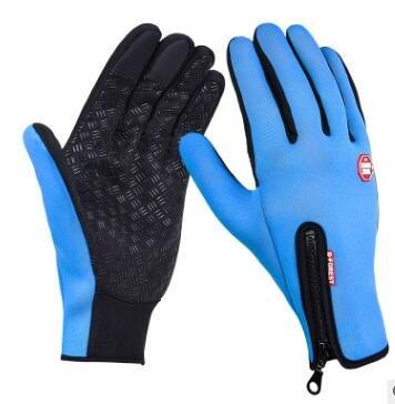 Unisexe Écran Tactile Hiver Gants Chauds Vélo Vélo Ski en Plein Air Étanche Camping Randonnée Moto Gants Sport Plein Doigt - Bleu Ciel, S