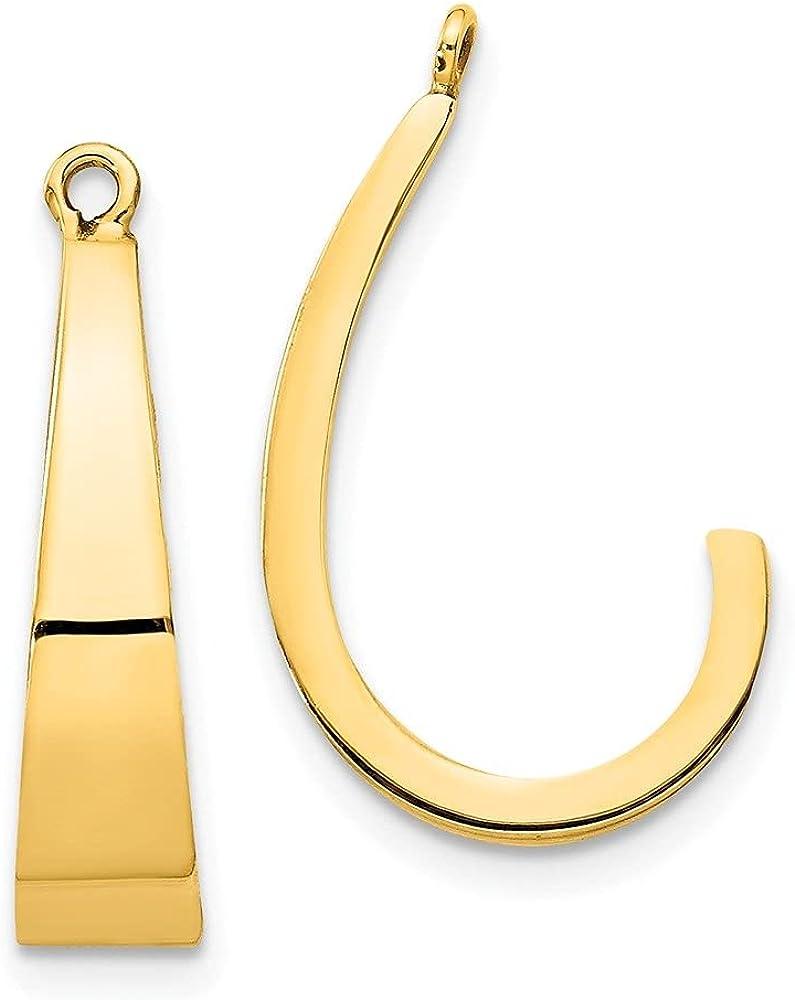 14k Yellow Gold J-Hoop Earring Jackets (L-20 mm, W-5 mm)