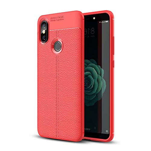 NiaCoCo Compatible con Xiaomi Mi A2 Lite/Redmi 6 Pro Funda Textura de La Piel TPU Suave Fino Anti Huella Digital Resistencia Al Terremoto Anti-Caída Caso+1*(Gratis Soporte para Teléfono)-Rojo