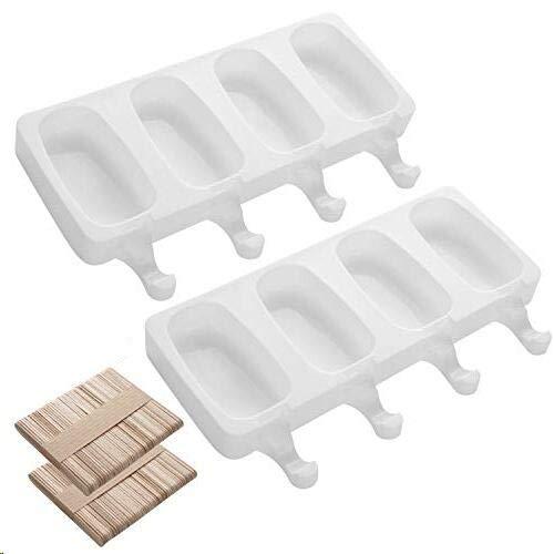 AIXMEET Stampi per ghiaccioli in Silicone, 2 Set stampi per ghiaccioli con 100 Bastoncini, gelatiere per Alimenti Senza BPA, stampi per Gelato al Cioccolato congelato Fai da Te per Bambini Adulti