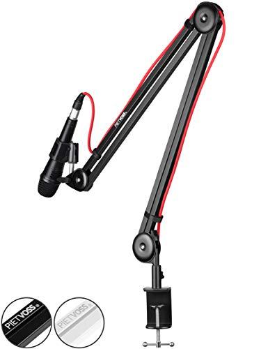 PIETVOSS Premium Mikrofon Arm Ständer (Schwarz) für Schreibtisch Montage I Profi Tisch Mikrofonarm einstellbar I Mikrofonständer, Microphone Arm