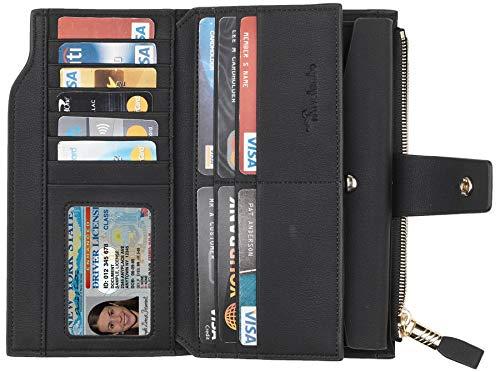 Travelambo Womens RFID Blocking Large Capacity Luxury Waxed Genuine Leather Clutch Wallet Multi Card Organizer 3