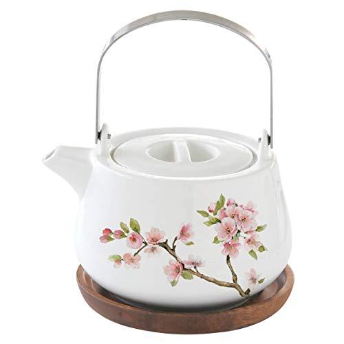 Easy Life 1089SAKU - Caja de tetera (75 cl, porcelana, con base de ACACIA SAKURA, multicolor