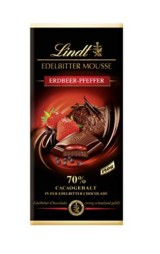 Lindt Edelbitte Mousse Tafel, Dunkle Schokolade 70% mit Erdbeer-Pfeffer Füllung, 1er Pack (1 x 150 g)