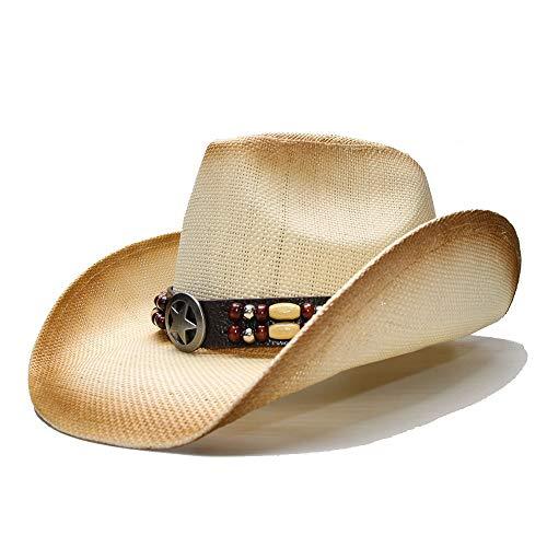 Jiangqiong, – Cappello Estivo in Paglia a Tesa Larga da Cowboy Western con Stella e Cinturino in Pelle con Perline, Cannuccia, 1, 56-58 cm