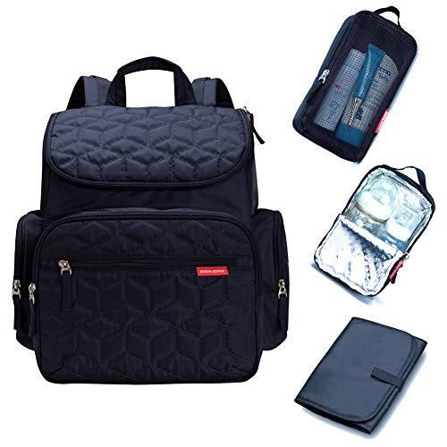 Bebamour Changing Bag Backpack with Changing Mat, Waterproof Nappy Bag Backpack for Mom and Dad, Baby Diaper Bag Nappy Back Pack with Stroller Hook (Dark Blue)