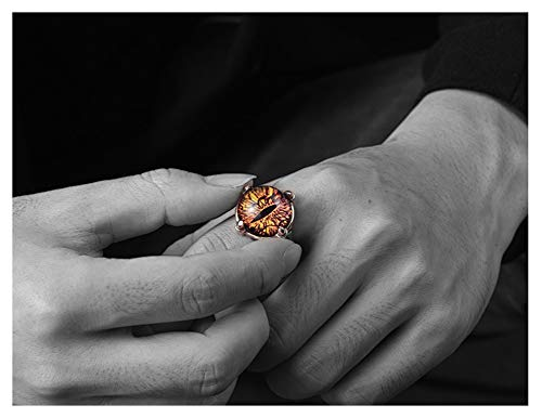 RXSHOUSH Anillo para hombre, diseño de ojo del diablo, plata S925, anillo de regalo de la suerte para hijo y novio