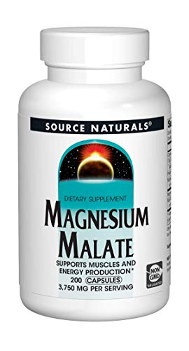 Source Naturals Magnesium Malate - 3750 mg Per Serving - Essential Magnesium Malic Acid Supplement - 200 Capsules