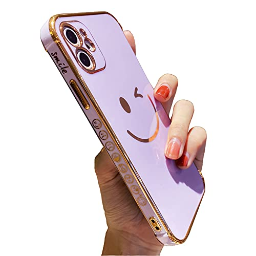 Facweek Compatible with iPhone 11 Case Cute, Pretty Smiley Gilded Cases and Covers for Girls Women, Luxury Electroplated Edge Bumper 360 Degree Full Body Camera Protective Cover Silicone Case, Purple