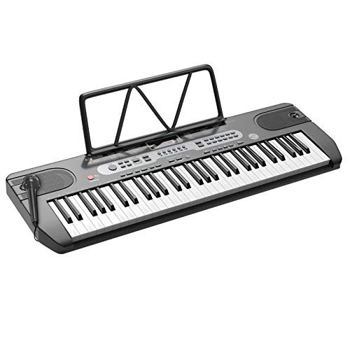 LAGRIMA LAG-740 61 Key Portable Electric Keyboard Piano with Built In Speakers, Digital Display Screen, Microphone, Dual Power Supply, Recording, Music Sheet Stand for Beginner, Adult, Beginner, Black