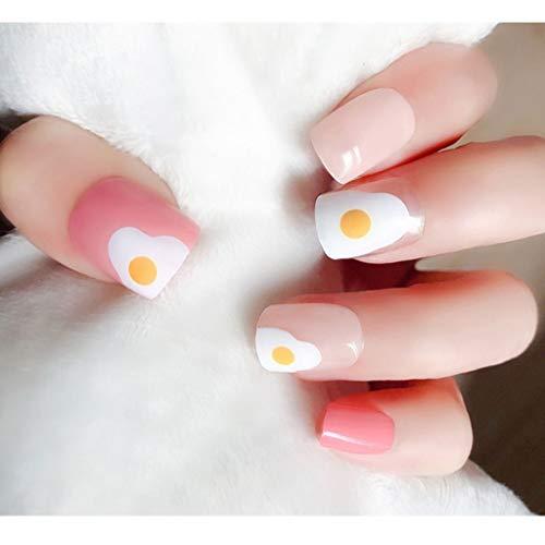 JIN HUA-fake nails Nagel-Flecken-Fertigwaren-Deckweiß mit pflegenden Bären-Muster mit gefälschten Nägeln Lasting Wasserdicht 24 Stück Boxed (Color : A)