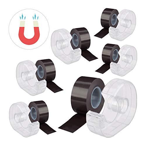Relaxdays 6 x Magnetband 5m, mit Abroller, selbstklebendes Klebeband, Magnetstreifen, für Whiteboard & Kühlschrank, schwarz