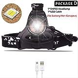 HSZH Phare 80000 lumens Super Lumineux LED Phare d'origine xlamp xhp50 Haute Puissant USB LED Phare Lampe Frontale 18650 Lampe Torche Paquet c