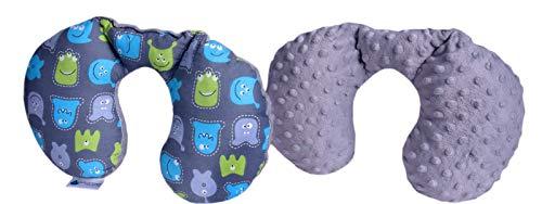 Medi Partners NACKENKISSEN Kinder Nacken Nackenstütze 100% Baumwolle/Minky Baby Nackenhörnchen für auto Kinderwagen autofahrt reisen Schlaf Hals kissen Schlummerrolle (Kreaturen mit grauen Minky)