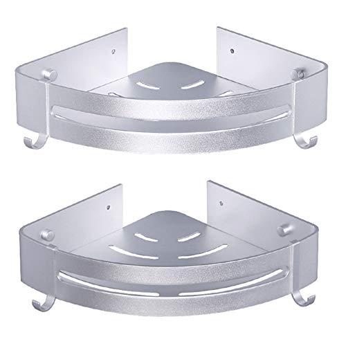 ZUQ Estantería Ducha Esquina Estante Organizador de Esquina para Baño Cocina Aluminio Estanteria Rinconera Rectangular con 2 Ganchos Montado en Pared 2 Piezas Plata