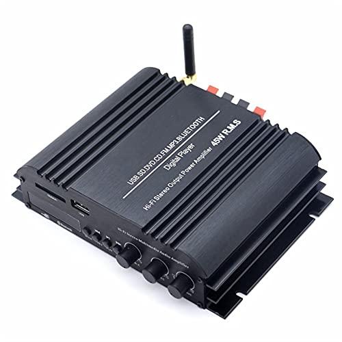 LXSMXJ Amplificador Bluetooth de Alta fidelidad de 4 Canales, Amplificador estéreo Digital Aux USB SD FM de 3,5 mm para Ordenador de Coche