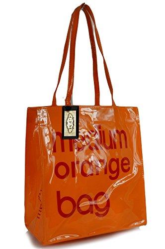 GFM - Bolsa reutilizable para la compra, almuerzo o picnic, de hule o PVC, tamaño pequeño o mediano, Medium Glossy - Orange (MGCRTNRG), Small