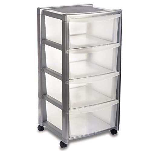 Schubladenregal mit 4 Schubladen Silber 40x40x80 cm • Schubladenbox Aufbewahrungsbox Schubladenschrank Rollcontainer