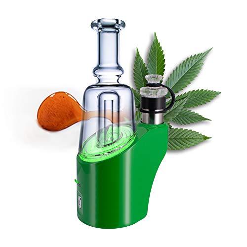 Verdampfer für Wachs, CBD-Öl und Kräuter, 3 in 1 Mobile Verdampfer mit Glas Aufsatz Portable E-RIG,Kein Nikotin (Grün)