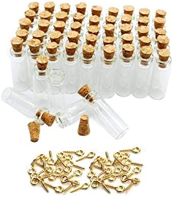 1ML Small Mini Tall Clear Glass Bottles/Jars with Corks Stoppers for Arts & Crafts, Projects, Decoration, Party Favors+ 50 Pcs Gold Metal Eye Hook Pin Screws ,50 Pcs