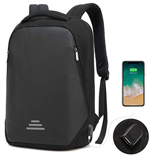 """Bronze Times(TM) Laptop Backpack, Mens Slim Business Travel Computer Bag Fits Under 17"""" Laptop & Notebook (15.6 inch, Black-N)"""