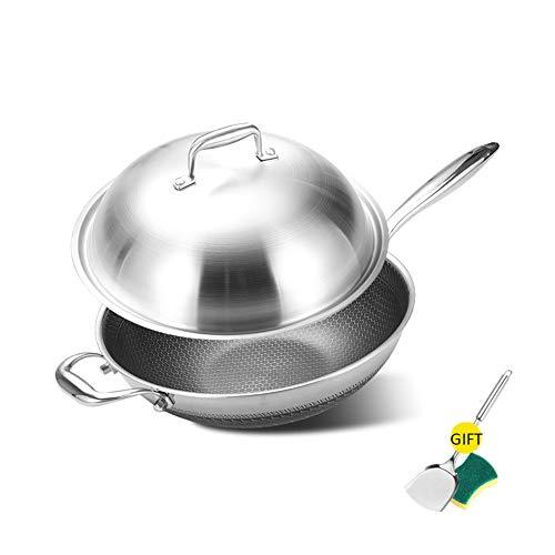 Anti-aanbaklaag wok roestvrij staal ongecoat dubbelzijdige cellulitis, goede kwaliteit, minder rook en inductie, universeel kookgerei cadeau 32cm Roestvrijstalen deksel.