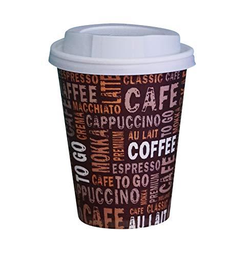 Gastro-Bedarf-Gutheil 100 Kaffeebecher Pappe 200ml / 8oz Pappbecher Einwegbecher EINWEG Coffee to go 0,2 L Top Becher mit Deckel in weiss
