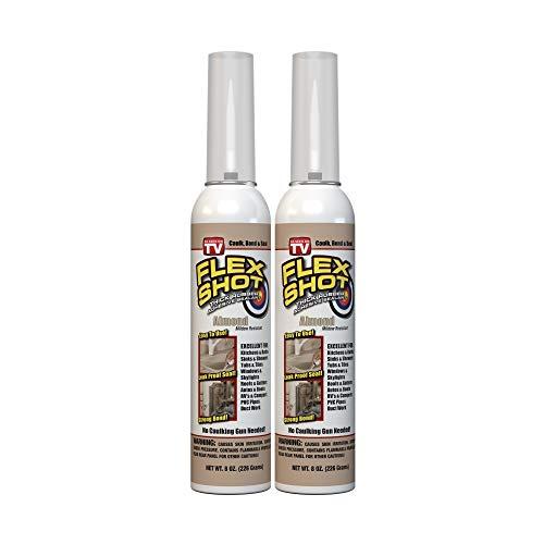 Flex Shot Rubber Adhesive Sealant Caulk, 8-oz, Almond (2 Pack)(Mildew Resistant)