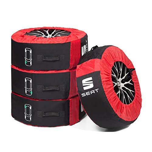 Seat 000071770C Reifentasche Kompletträder (bis 18 Zoll) Schutztasche Reifen Räder Lagerung, schwarz/rot