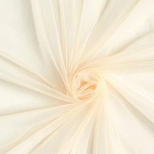Fabulous Fabrics Tüll Champagner, Uni, 145cm breit – zum Nähen von Brautschleiern, Petticoats und Röcken - Meterware erhältlich ab 0,5 m