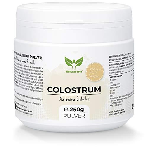 NaturaForte Colostrum Pulver 250g - Natürliches Kuh Kolostrum Pulver, Biestmilch, Erstmilch schonend entfettet, Milchpulver in Premium-Qualität, Immunglobuline G, Optimale Versorgungsquelle