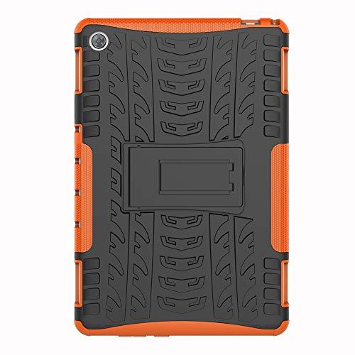 SHIEID Hülle für Huawei MediaPad M5 Lite (10 Inch)-Hülle Tough Hybrid Armor Hülle,Diese Handyhülle Anti-Wrestling Travel Essential Faltbare Halterung für Huawei MediaPad M5 Lite (10 Inch)(Orange)