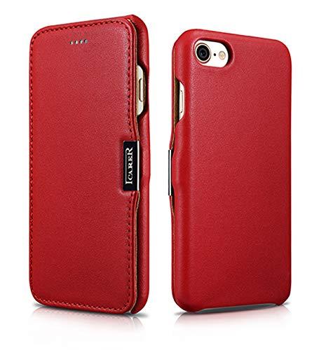 ICARER Tasche passend für Apple iPhone SE 2020, iPhone 8 & iPhone 7 (4.7 Zoll), Hülle mit Echt-Leder Außenseite, Schutz-Hülle seitlich aufklappbar, Ultra-Slim Cover, Etui, Rot