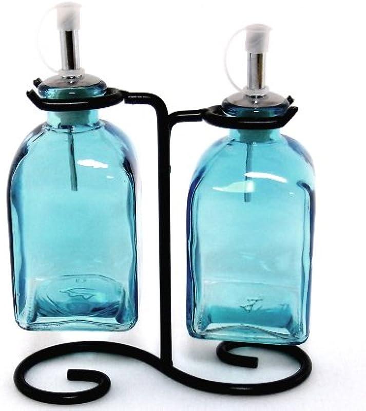 Country Vinegar Olive Oil Bottle Set Decorative Liquid Dispenser Set 2 G16F Aqua Glass Cruet Drizzler Roman Bottles With Swirl Stand