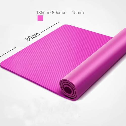 IAMZHL Yogamatte 185 * 80 cm 15 mm Dicke Schlanke Yogamatten rutschfeste geschmacklose Fitness Esterilla Pilates Heimübungen Fitnessstudio Sport Pad-Pink-b1