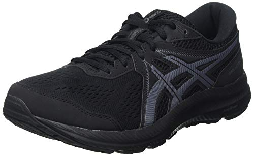 Asics Gel-Contend 7, Road Running Shoe Hombre, Black/Carrier Grey, 44.5 EU
